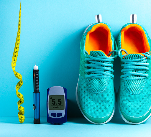 Running shoes and blood sugar level checker