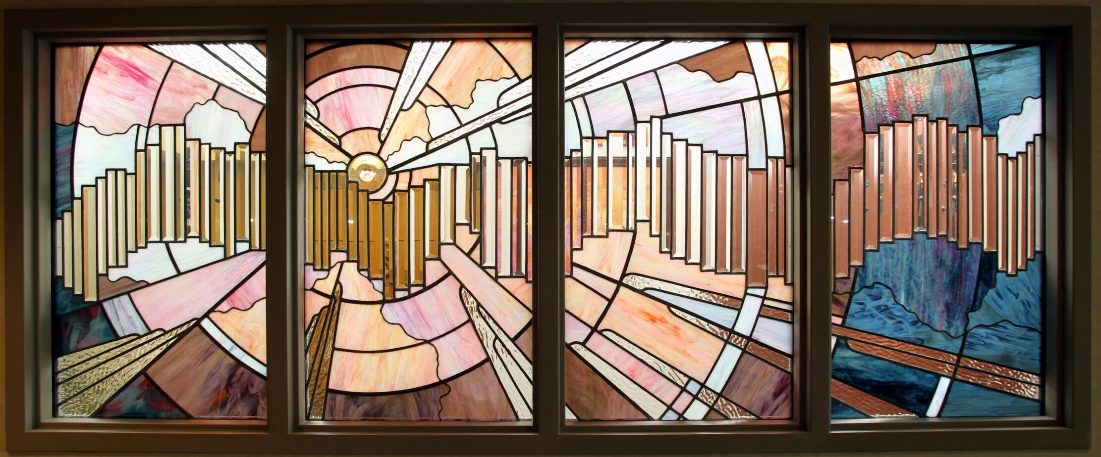 Stained glass window at the All Faiths Chapel at Winchester Medical Center