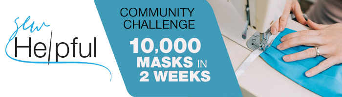 Photo that reads: Community Challenge 10,000 masks in 2 weeks