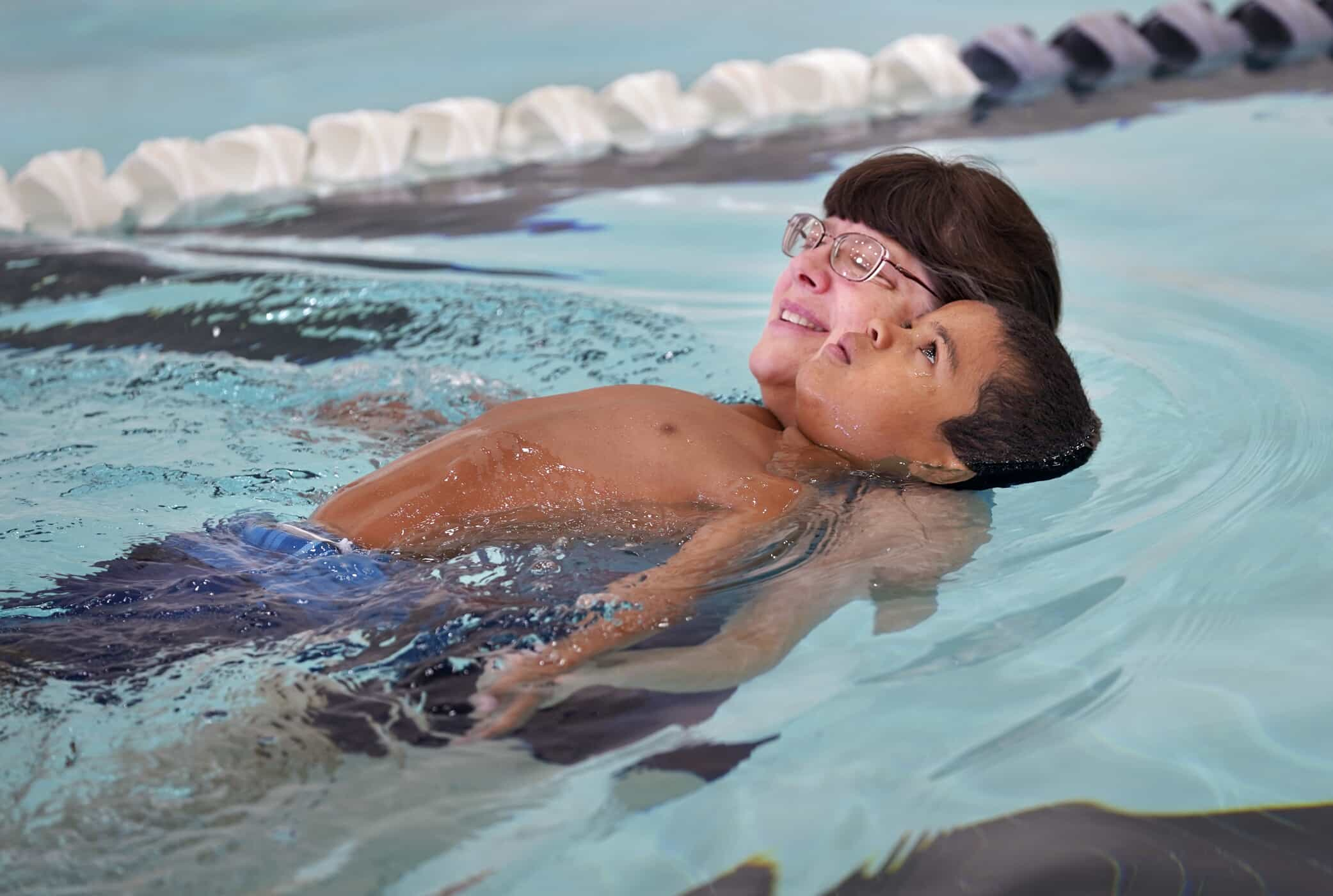 Photo of young boy during swim lessons